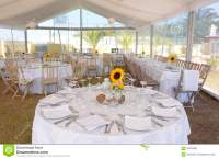 White Table Setting With Sunflowers, Event Party And ...
