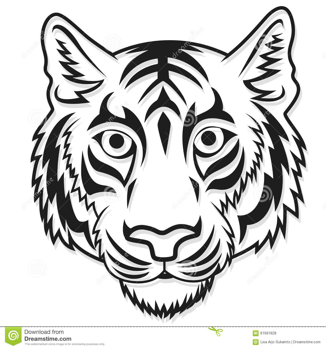 White Tiger Head Mascot Team Sport Cartoon Stock Vector