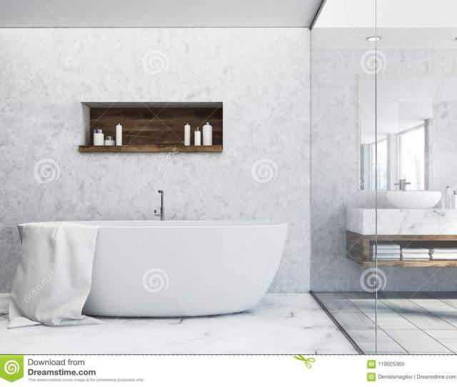 Luxury White Bathroom Interior With A Marble Floor And A White Tub With A Large Mirror Next To It A Shelf With Shampoo D Rendering Mock Up