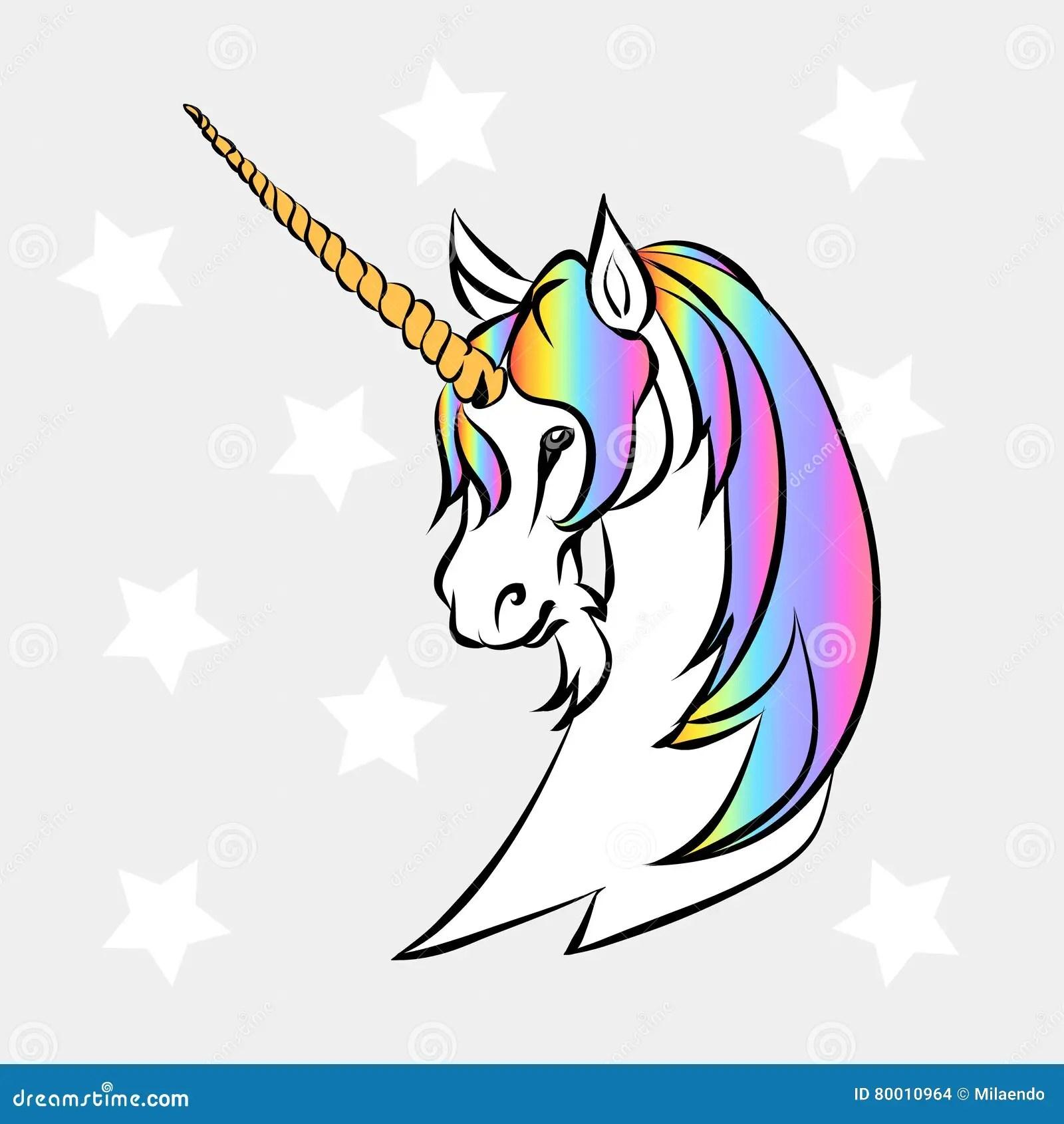 White Unicorn Head Stock Vector Illustration Of Cute