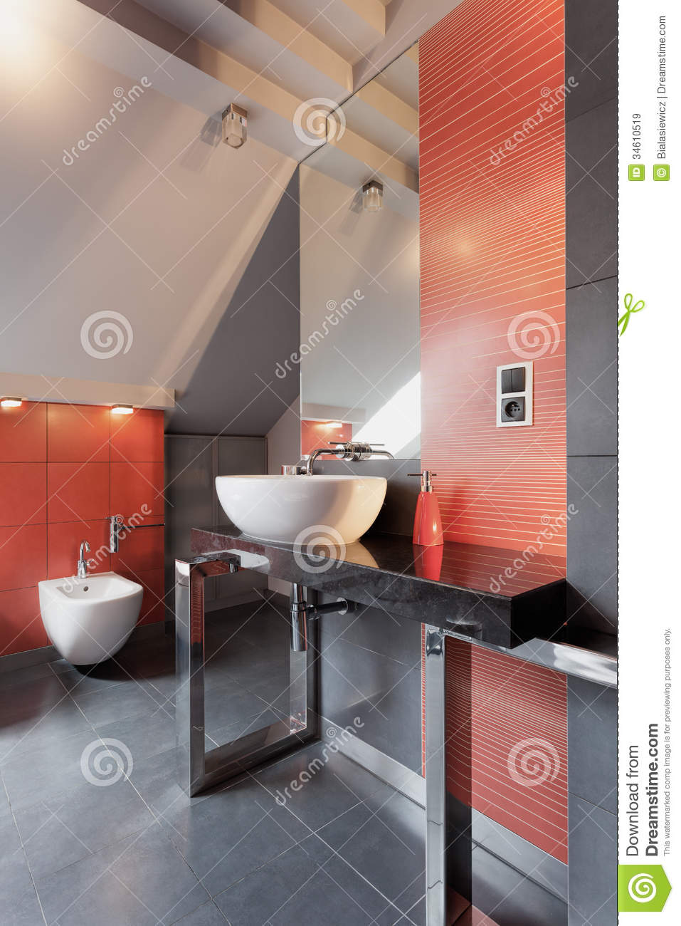 White Vessel Sink In Bathroom Stock Image  Image of light