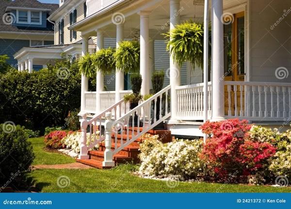white victorian porch stock