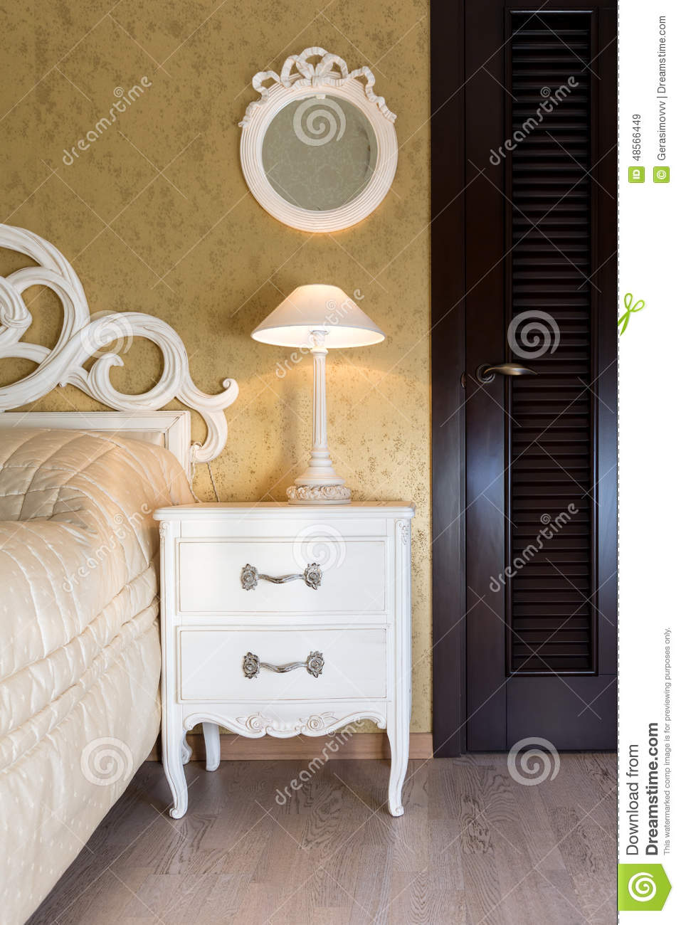 White Vintage Style Nightstand Stock Image Image 48566449