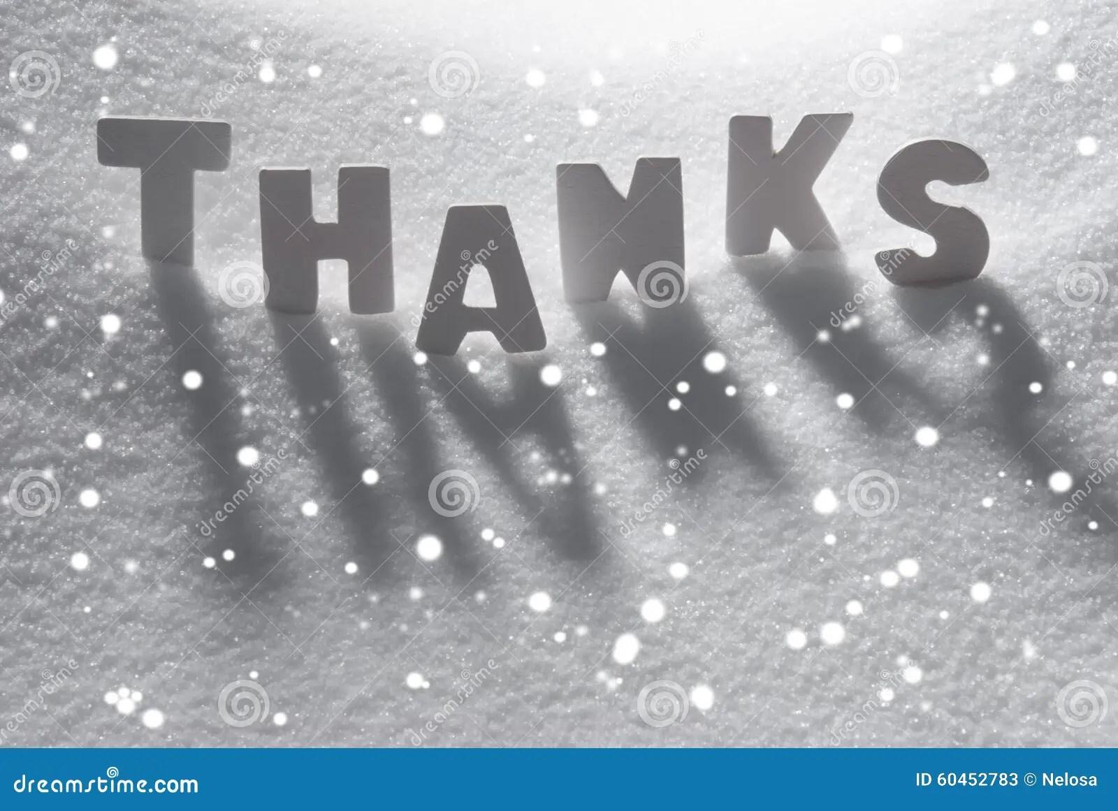 White Word Thanks On Snow Snowflakes Stock Photo Image