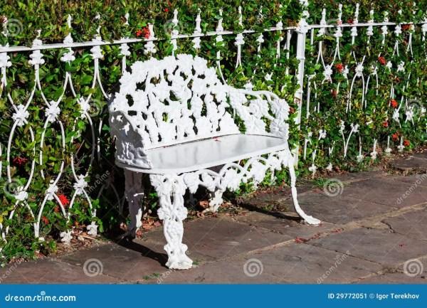 White Wrought Iron Bench Stock - 29772051