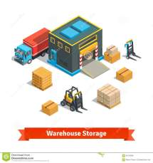 Warehouse Storage Building With Forklift Stock