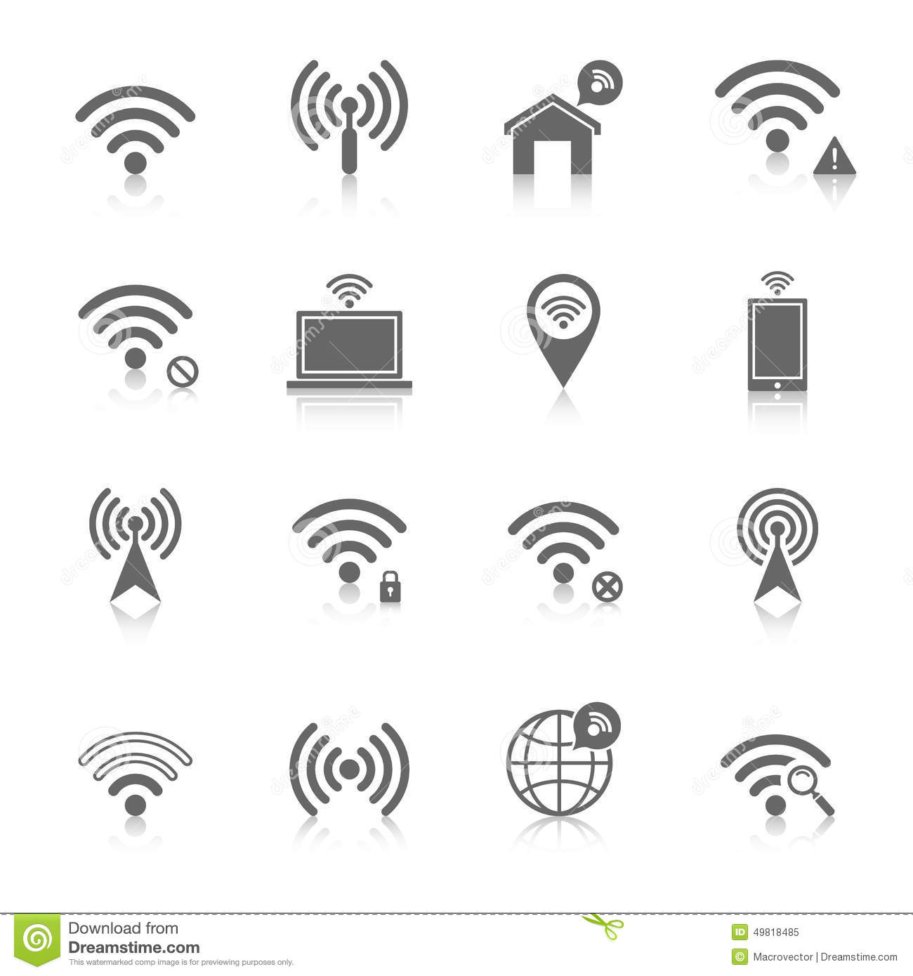 Wi Fi Icons Set Stock Vector