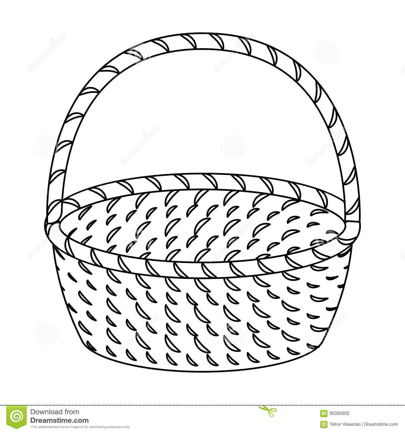Wicker Basket Made Of Twigs Easter Single Icon In Outline