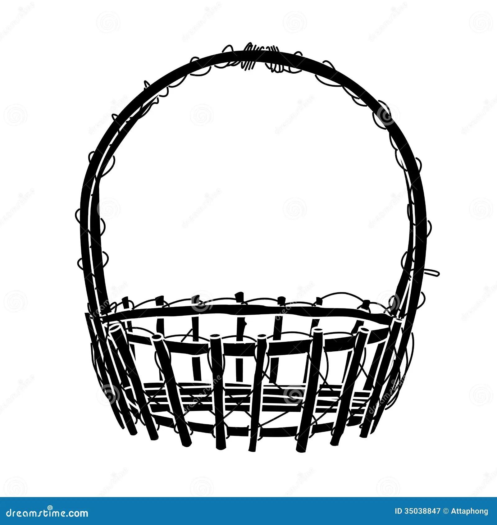 Wicker Basket Silhouette Vector Stock Vector