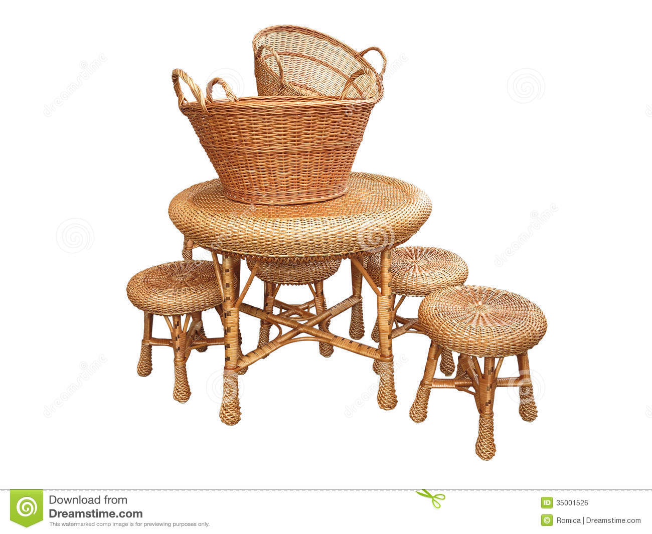 white wicker chairs and table kitchen stuff plus dining chair furniture baskets isolated over