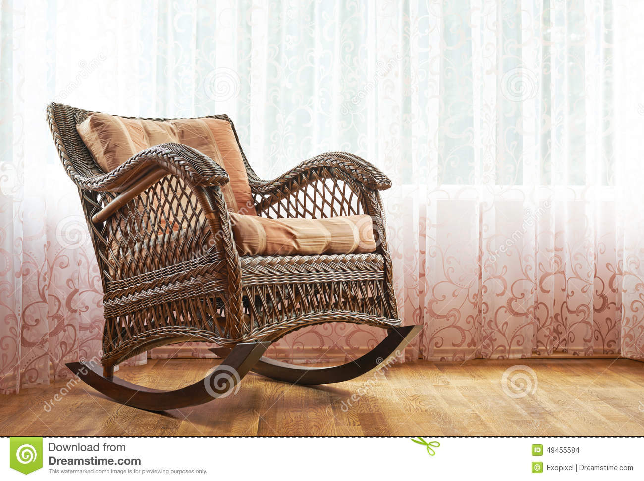 Indoor Wicker Rocking Chair Wicker Rocking Chair Composition Stock Photo Image 49455584