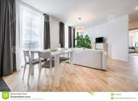 Wide View Of Living Room In Scandinavian Style Stock Photo ...