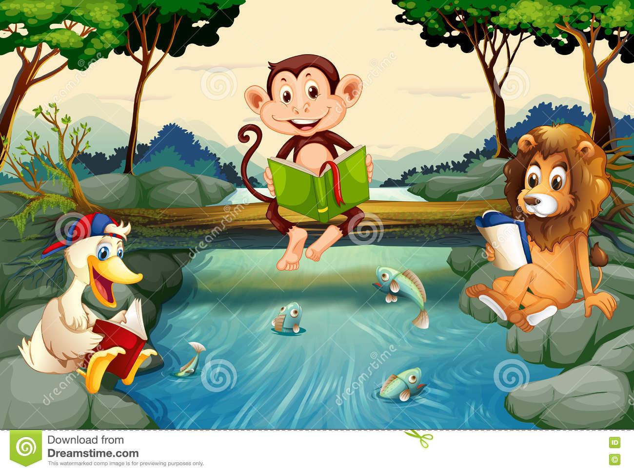 Wild Animals Reading Books By The River Stock Vector