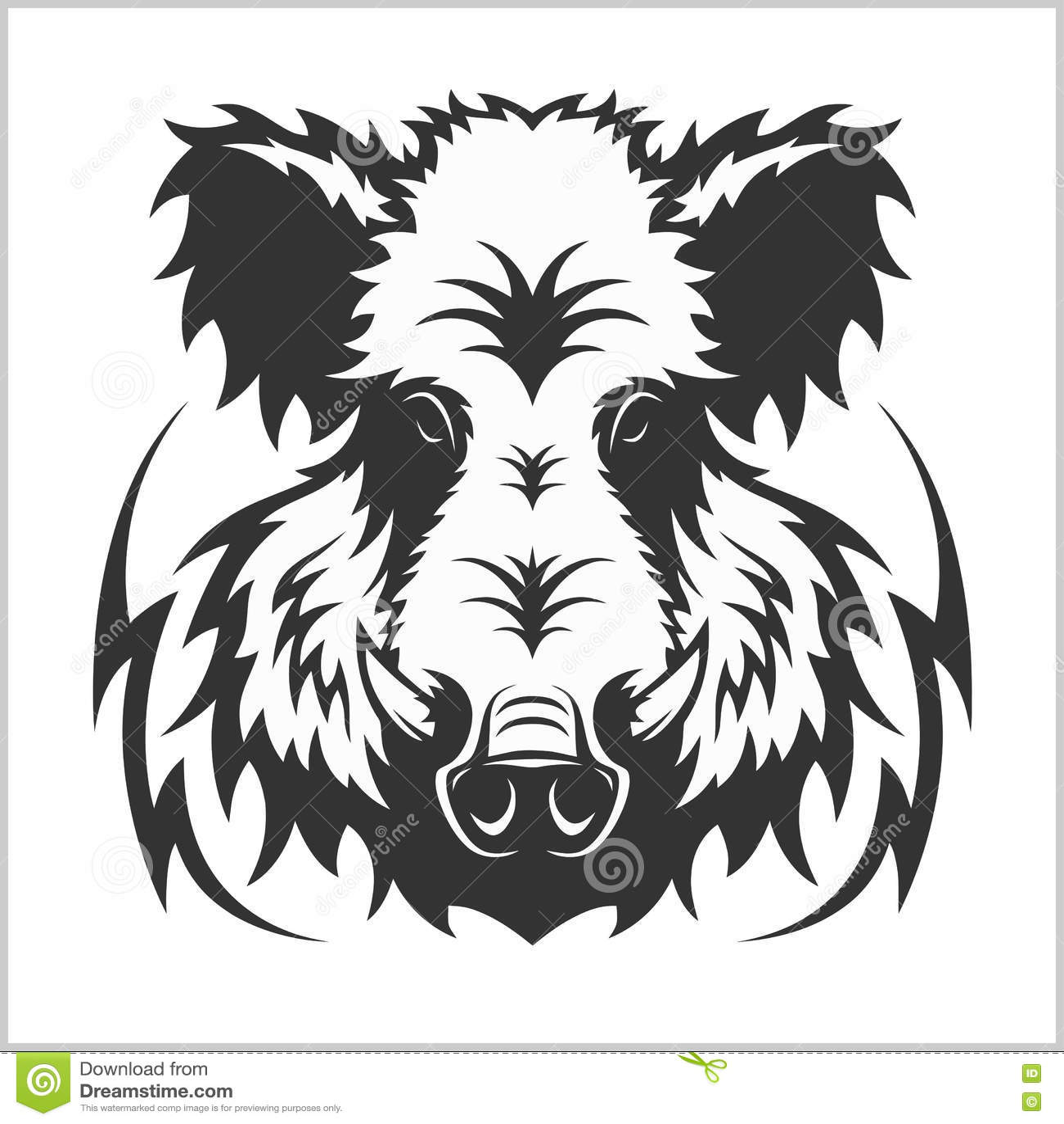 Angry Razorback Wild Pig Hog Boar Head Vector Illustration