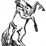 Wild Horse Stallion Rearing Up Stock Vector Illustration Of Zodiac Wild 108535442