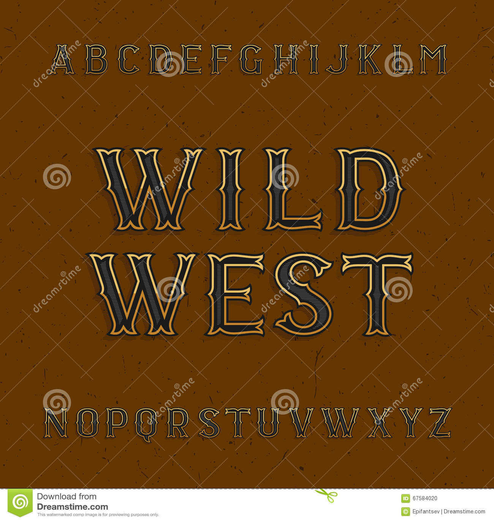 Wild West Alphabet Vector Font Stock Vector