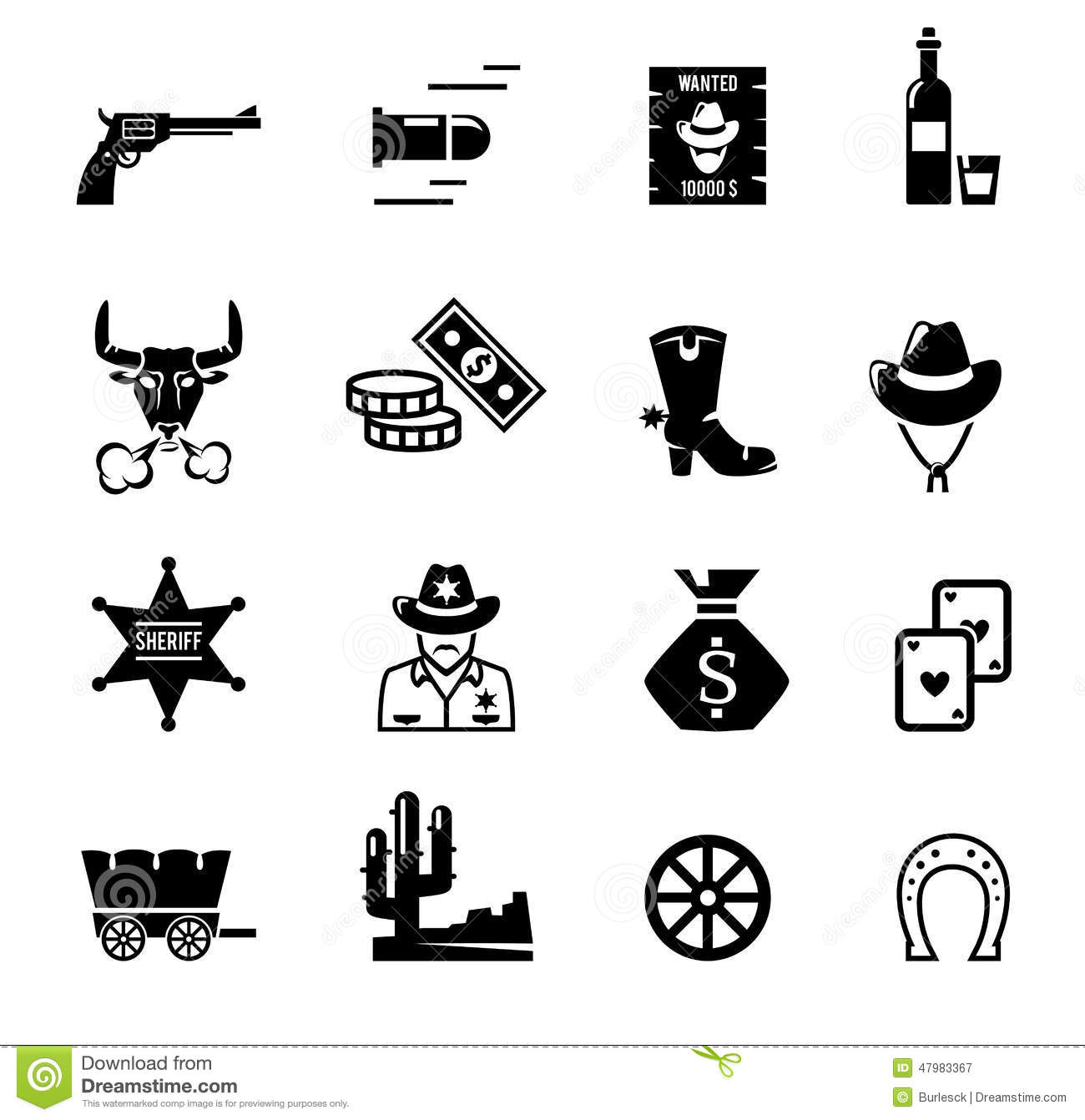Wild West Icons Stock Vector Illustration Of Cowboy