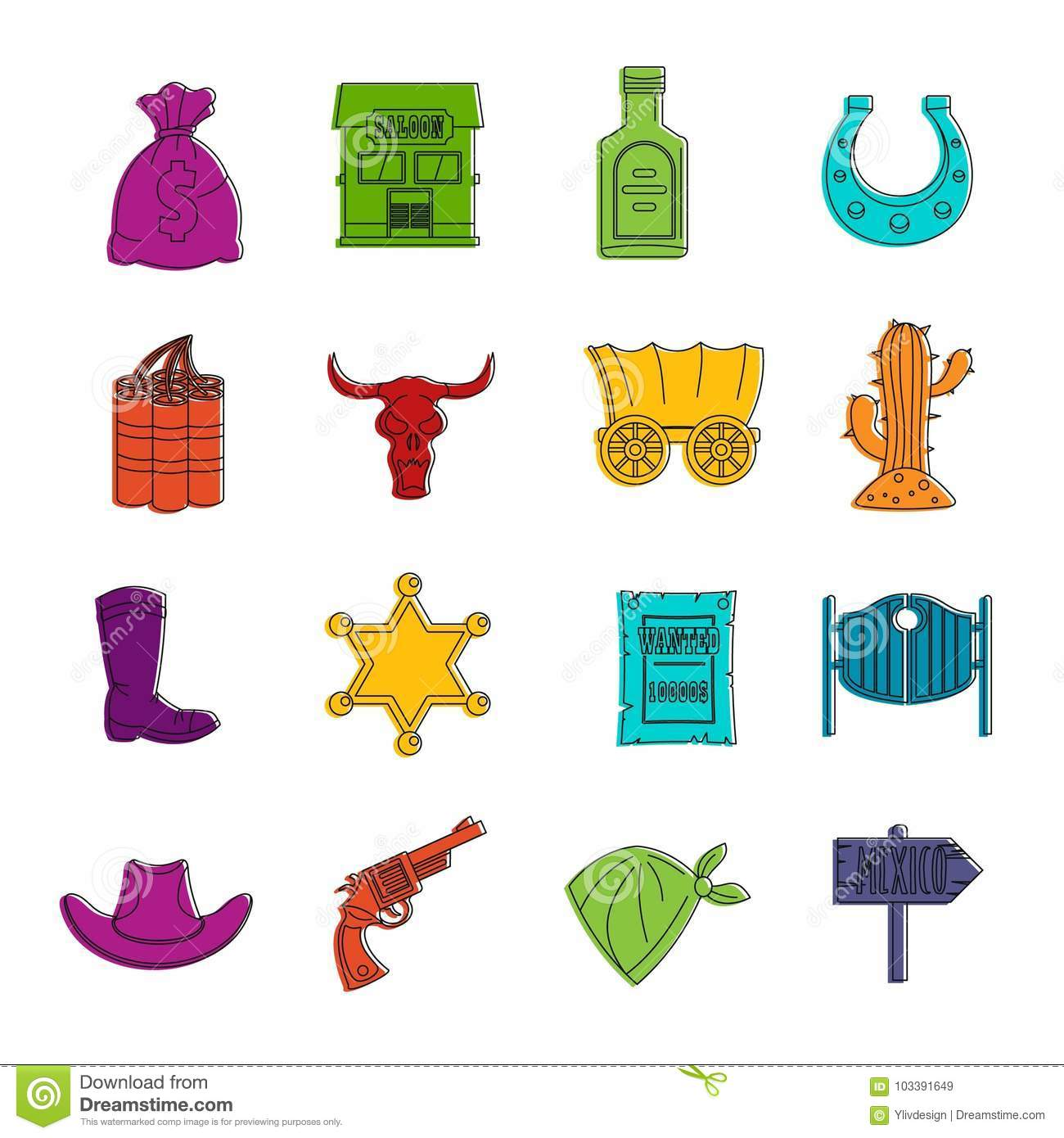 hight resolution of wild west icons doodle set