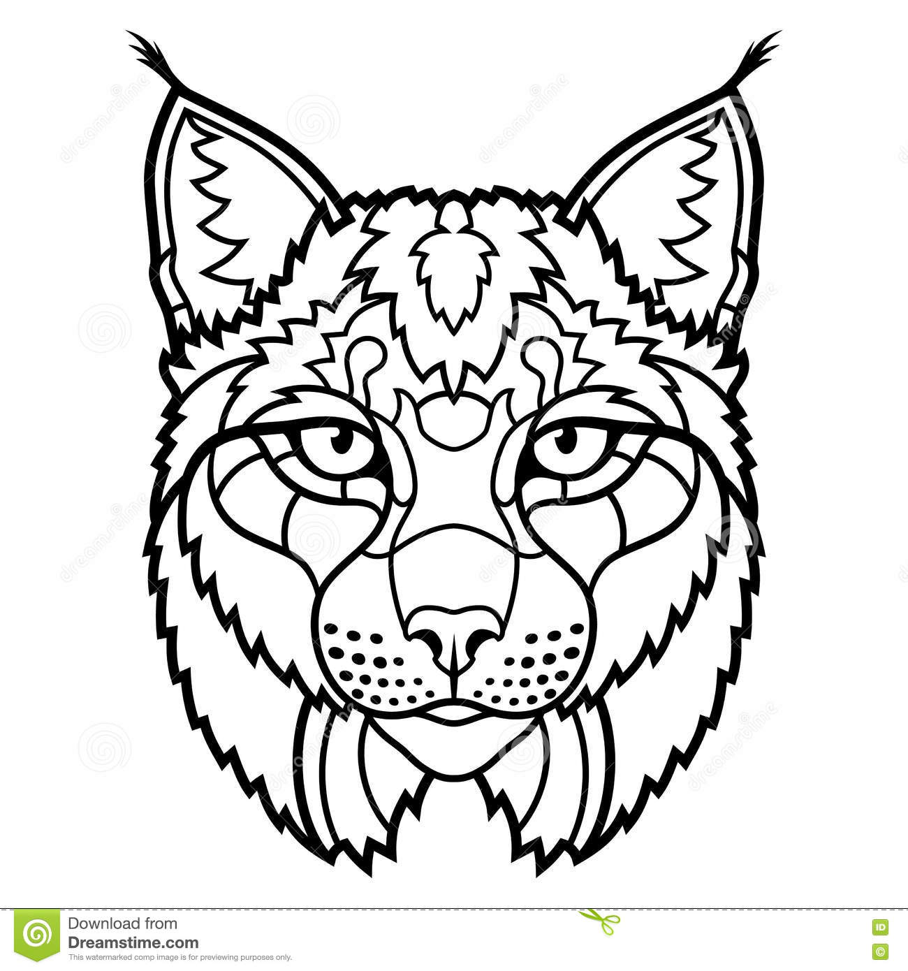 Wildcat Lynx Mascot Head Isolated Sketch Line Art Stock