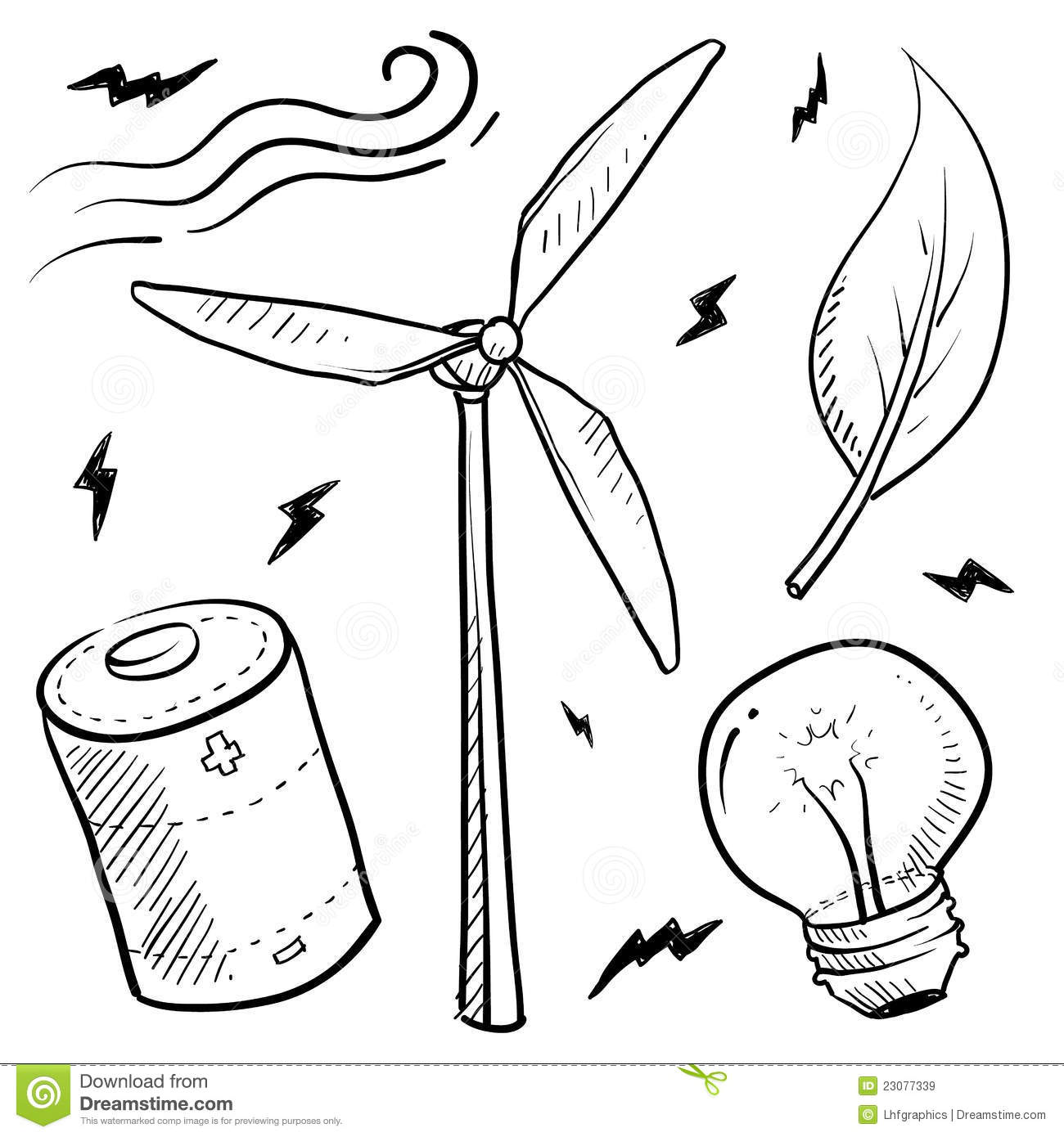 Wind Energy Objects Sketch Stock Vector Illustration Of