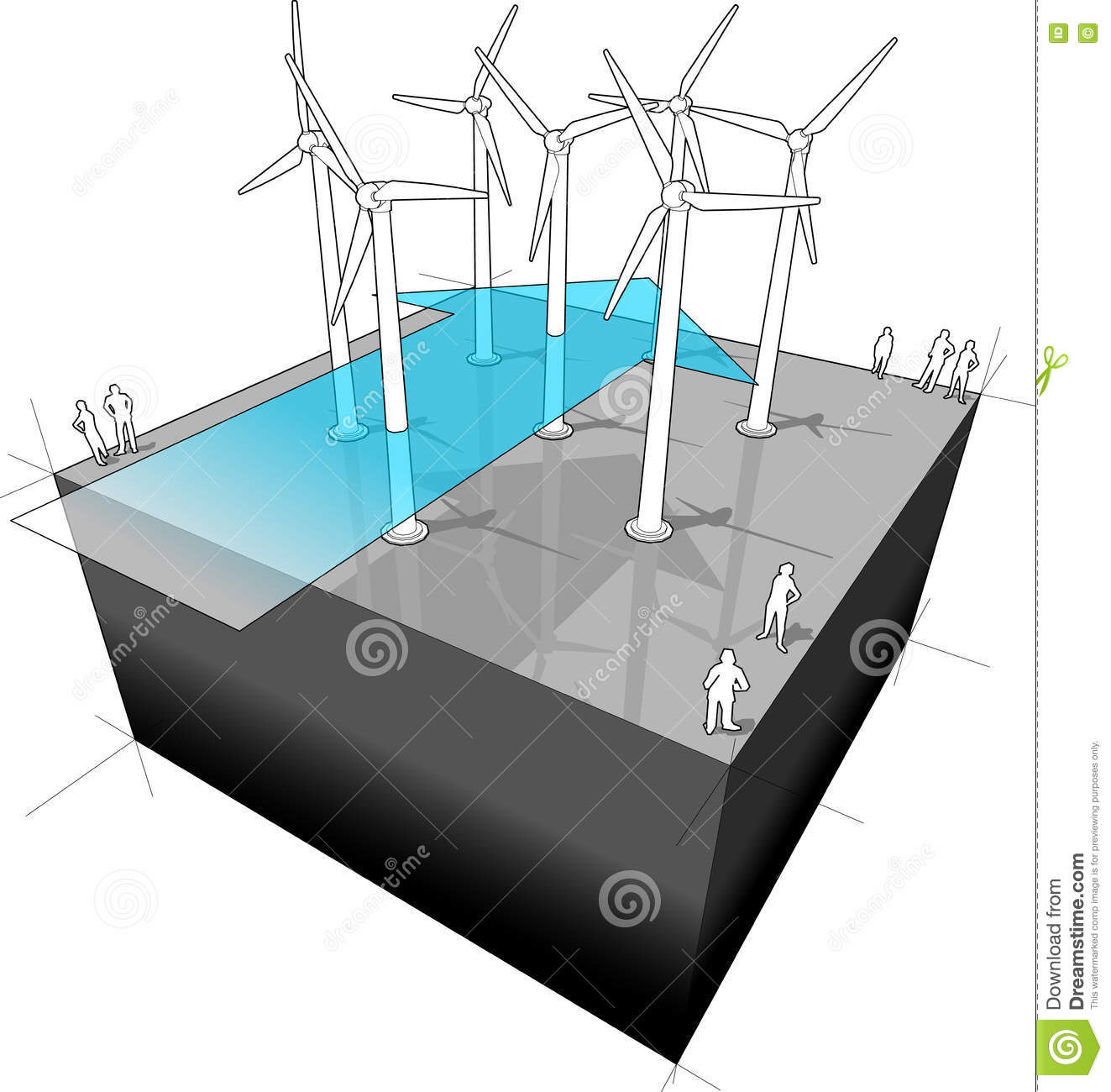 hight resolution of wind farm with wind arrow diagram