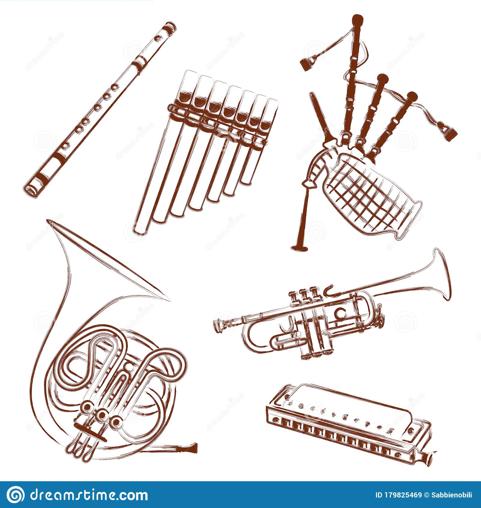 Wind Instruments Collection Outline Illustration Stock