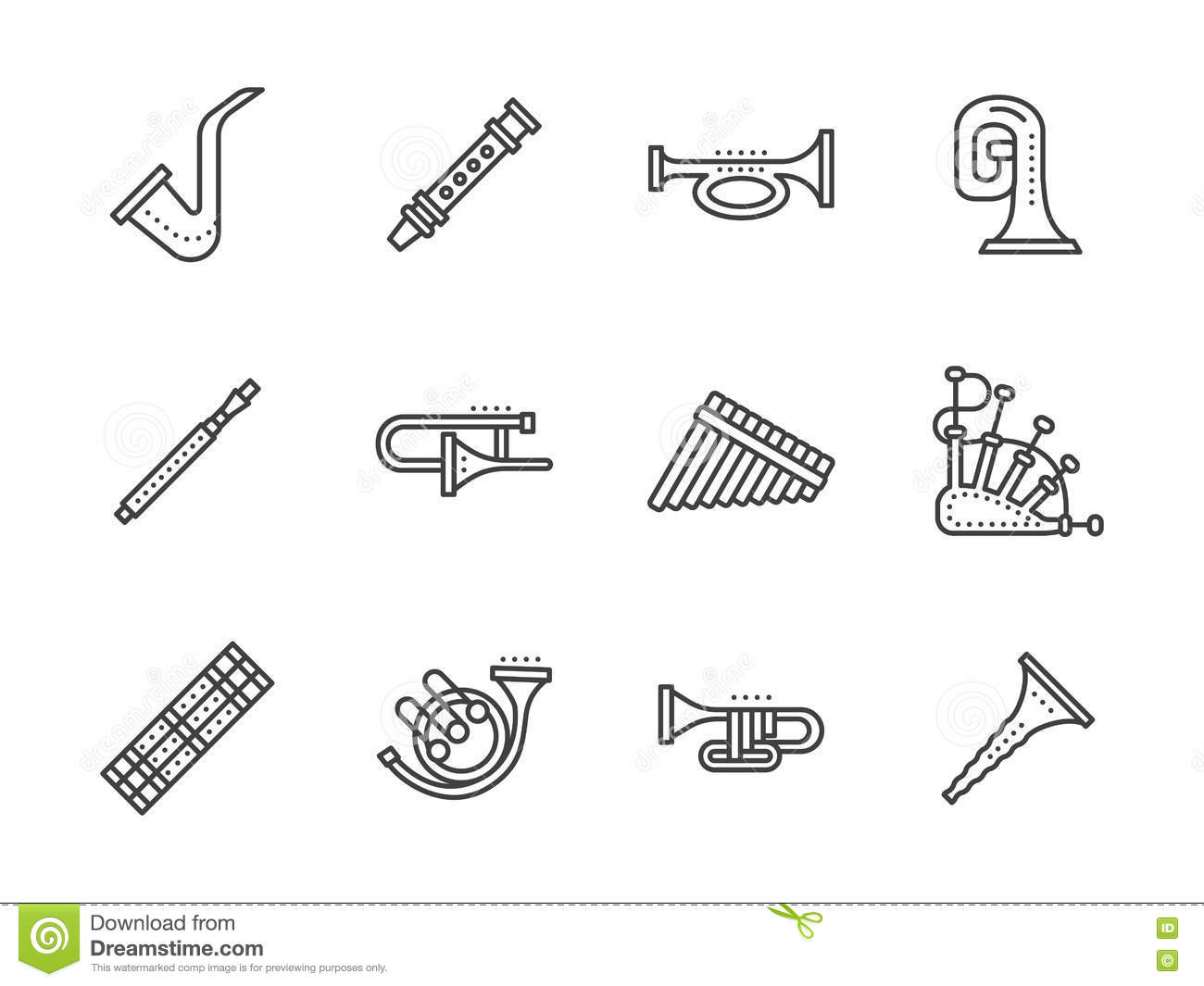 Wind Musical Instruments Black Line Icons Stock Vector