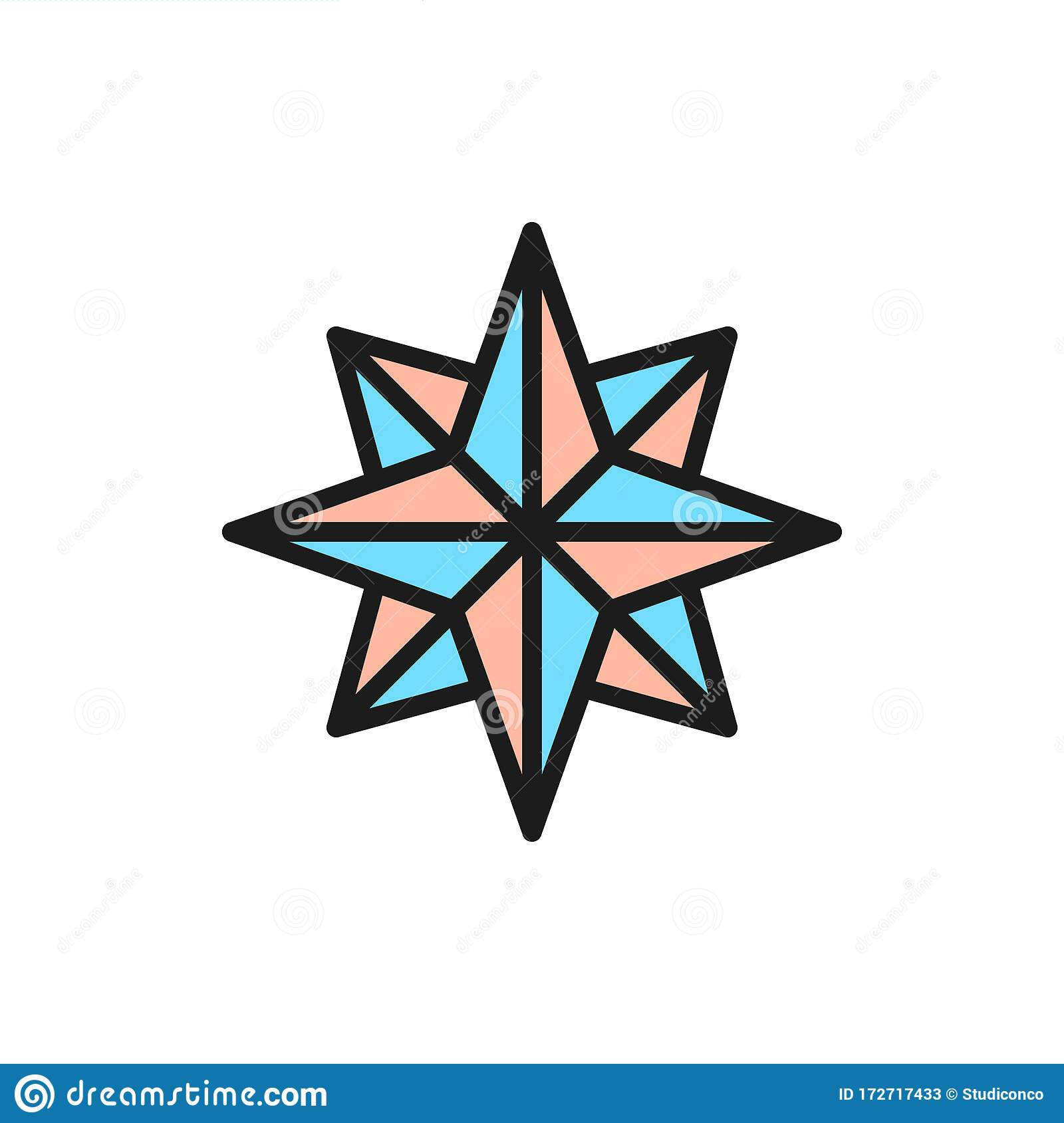 Wind Rose Compass Navigation Flat Color Line Icon Stock