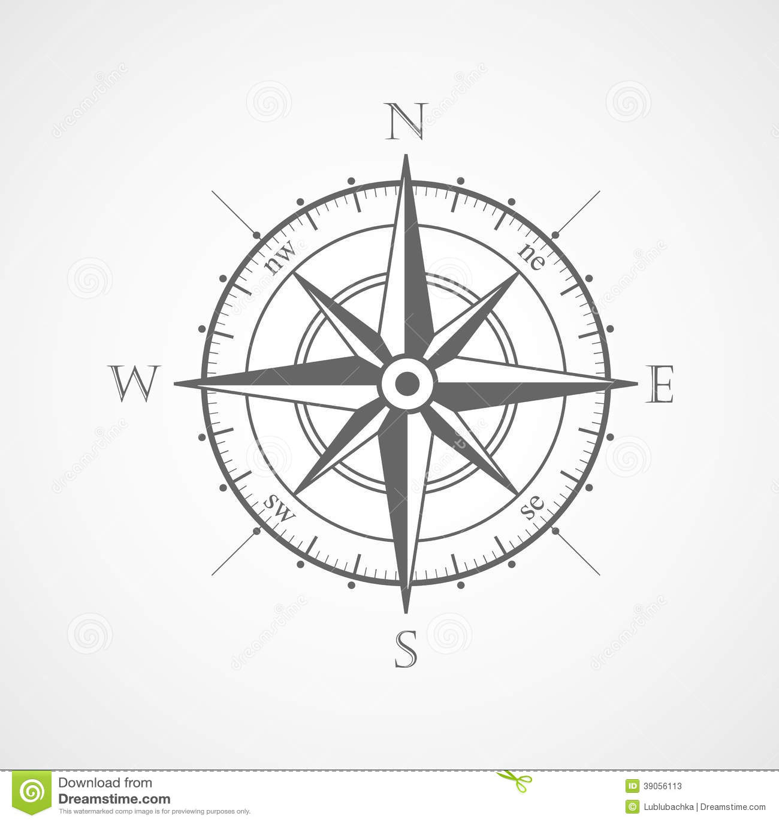 Wind Rose Compass Vector Symbol Stock Vector