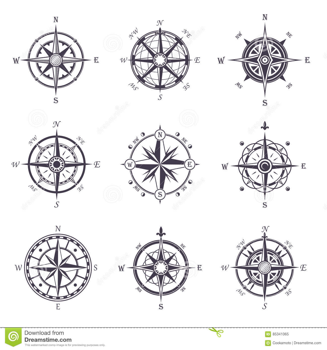 Wind Rose Or Old, Vintage Compass Heraldic Icons Stock