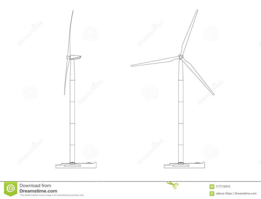 medium resolution of shoot of the wind turbine architect blueprint isolated