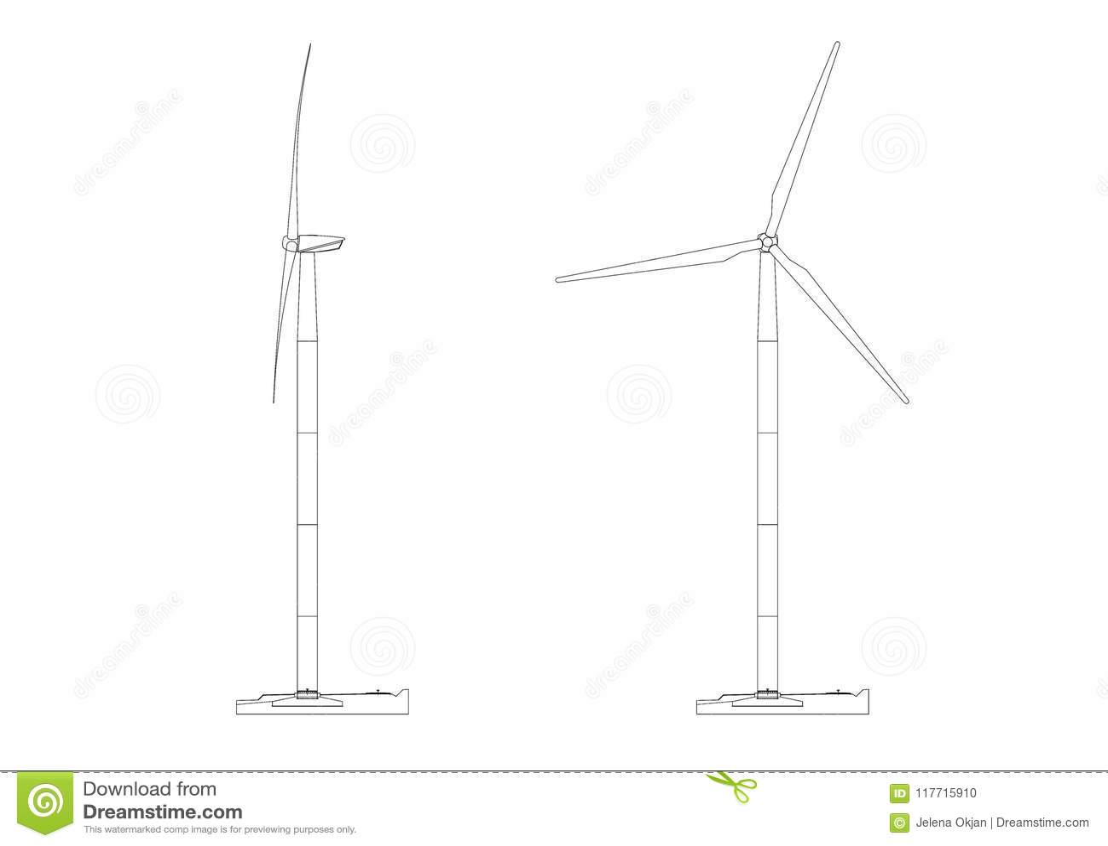 hight resolution of shoot of the wind turbine architect blueprint isolated