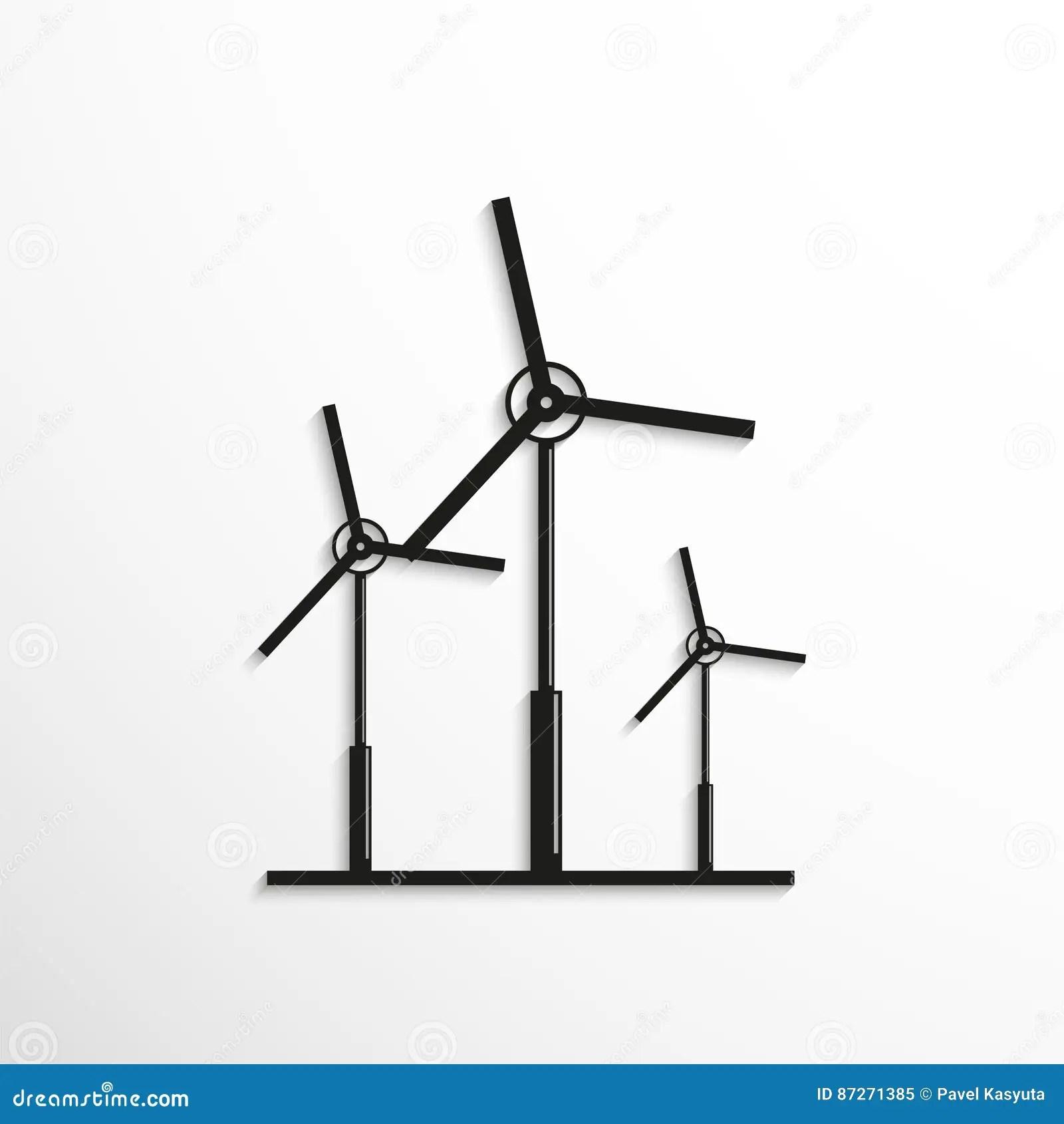 Eco Friendly Wind Power Wind Turbines Cartoon Vector