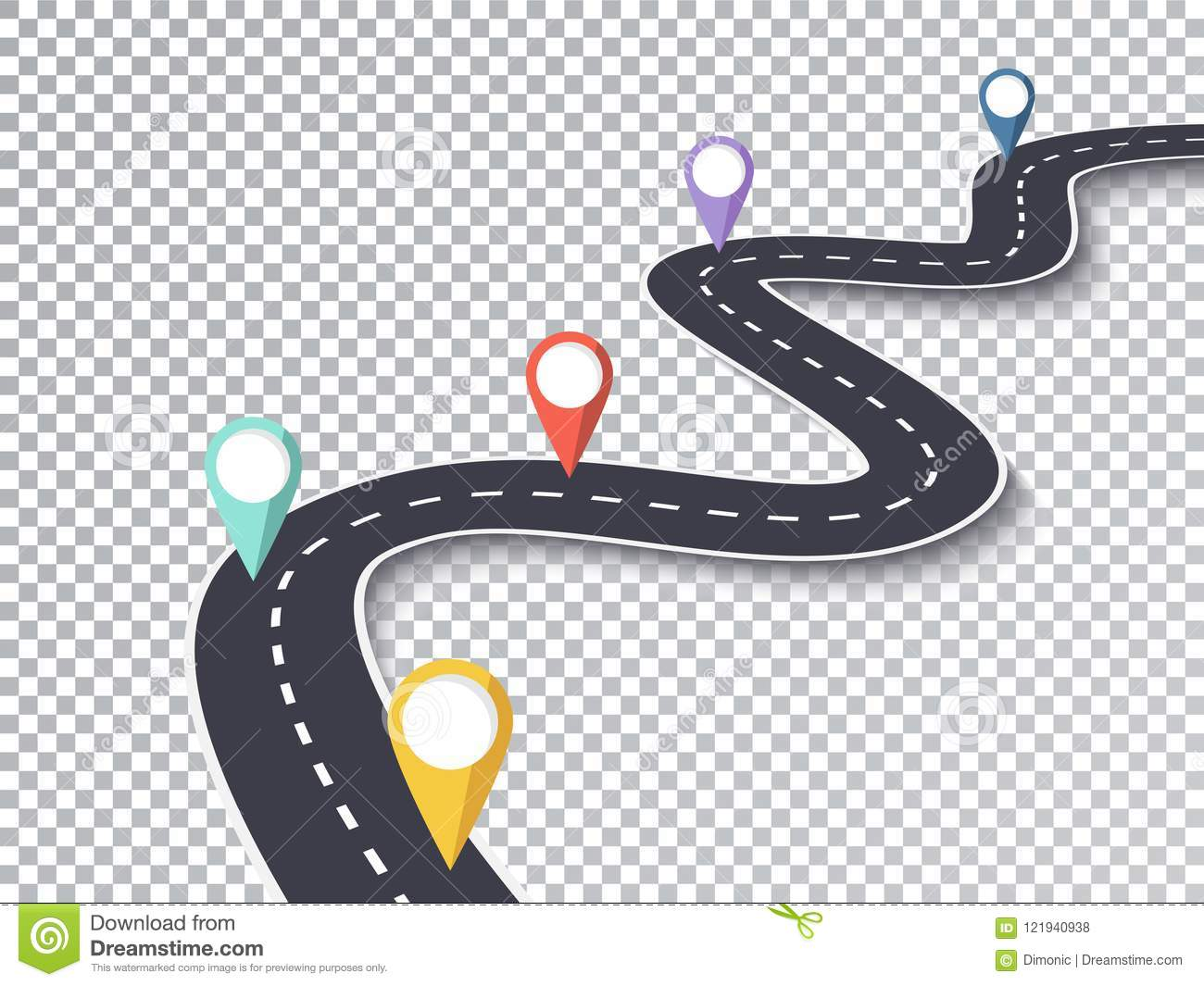 hight resolution of winding road isolated transparent special effect road way location infographic template eps 10
