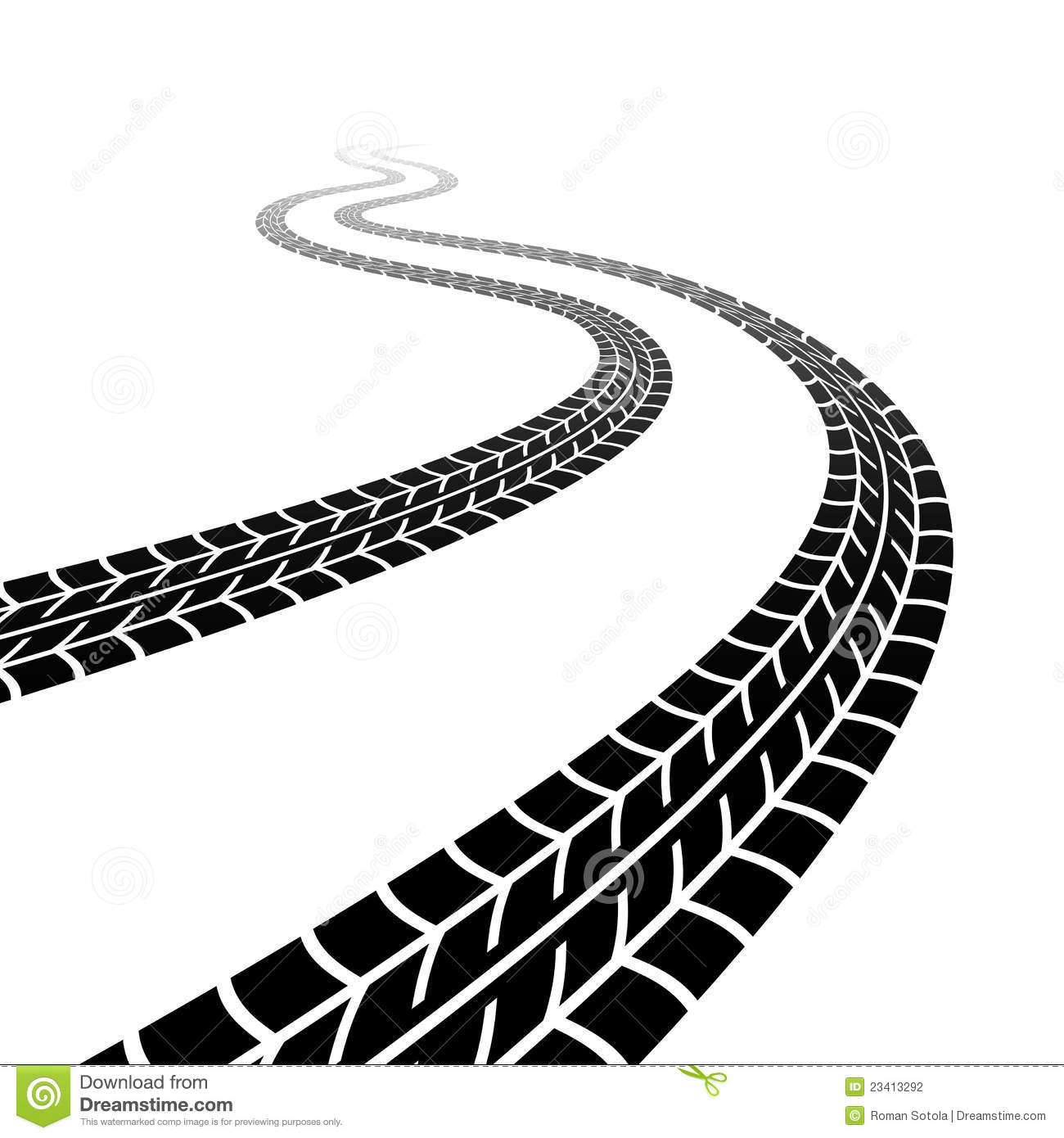 Winding trace of the tyres stock vector. Illustration of