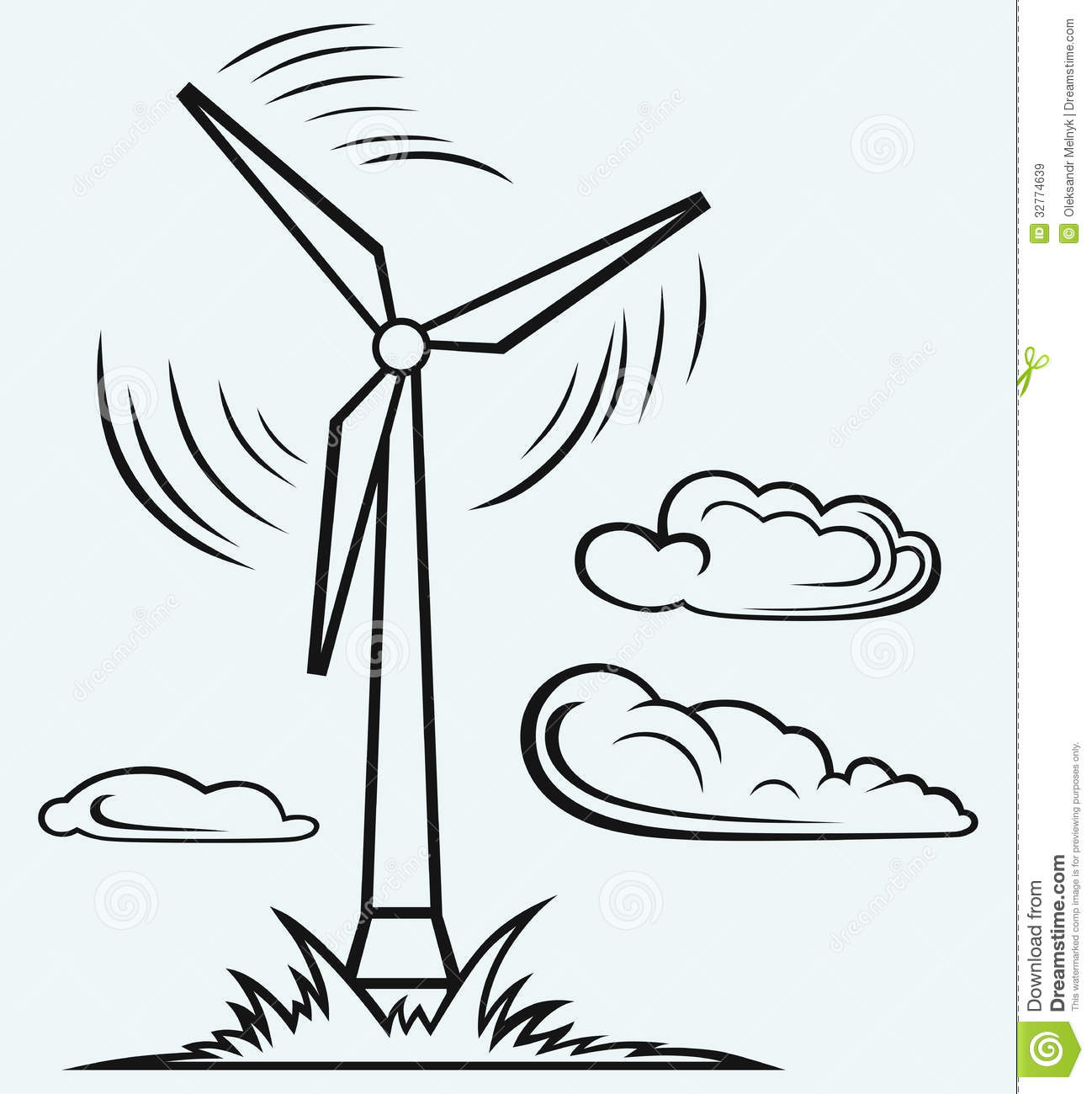Windmill And Clouds Stock Vector Image Of Nobody