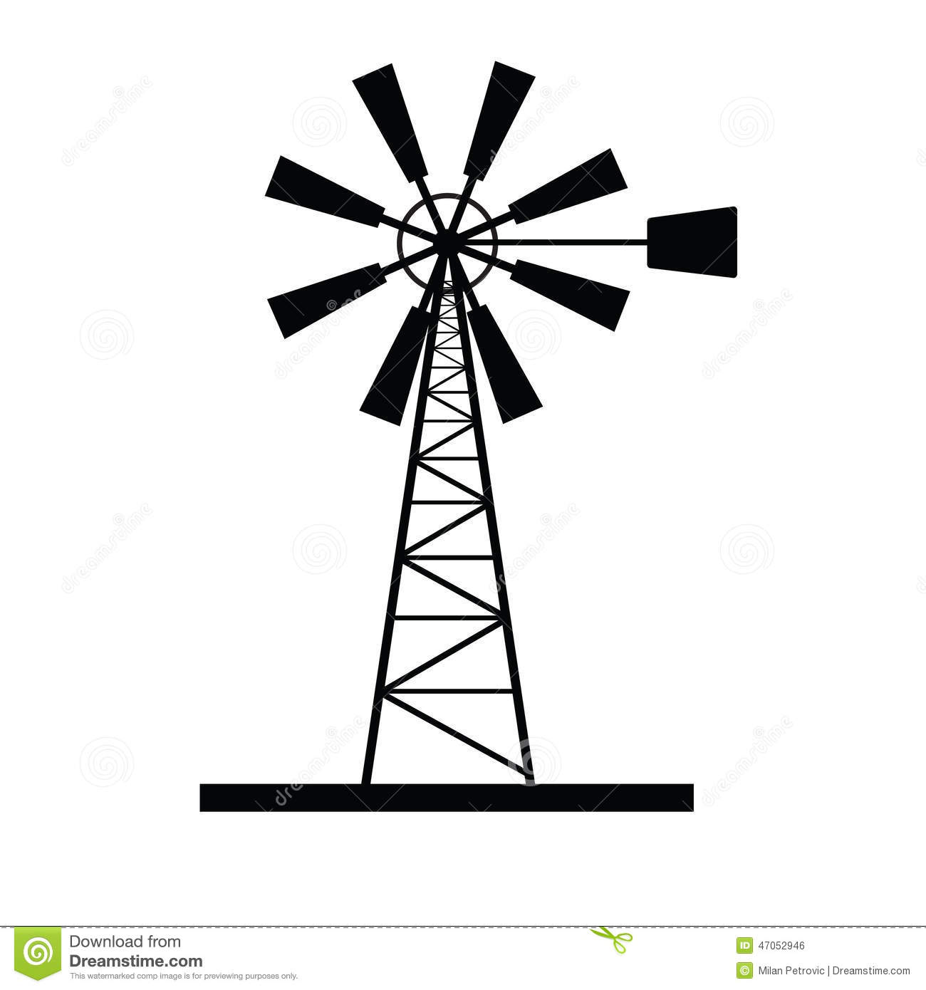 Windmill icon vector stock vector. Image of wind, circle