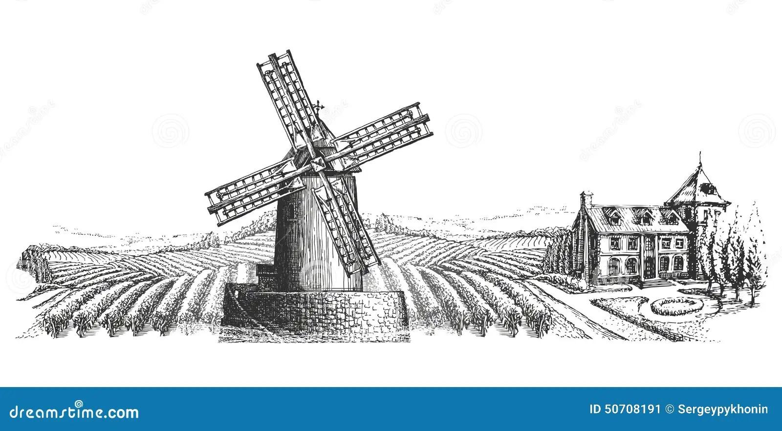 Windmill Vector Logo Design Template. Harvest Or Stock