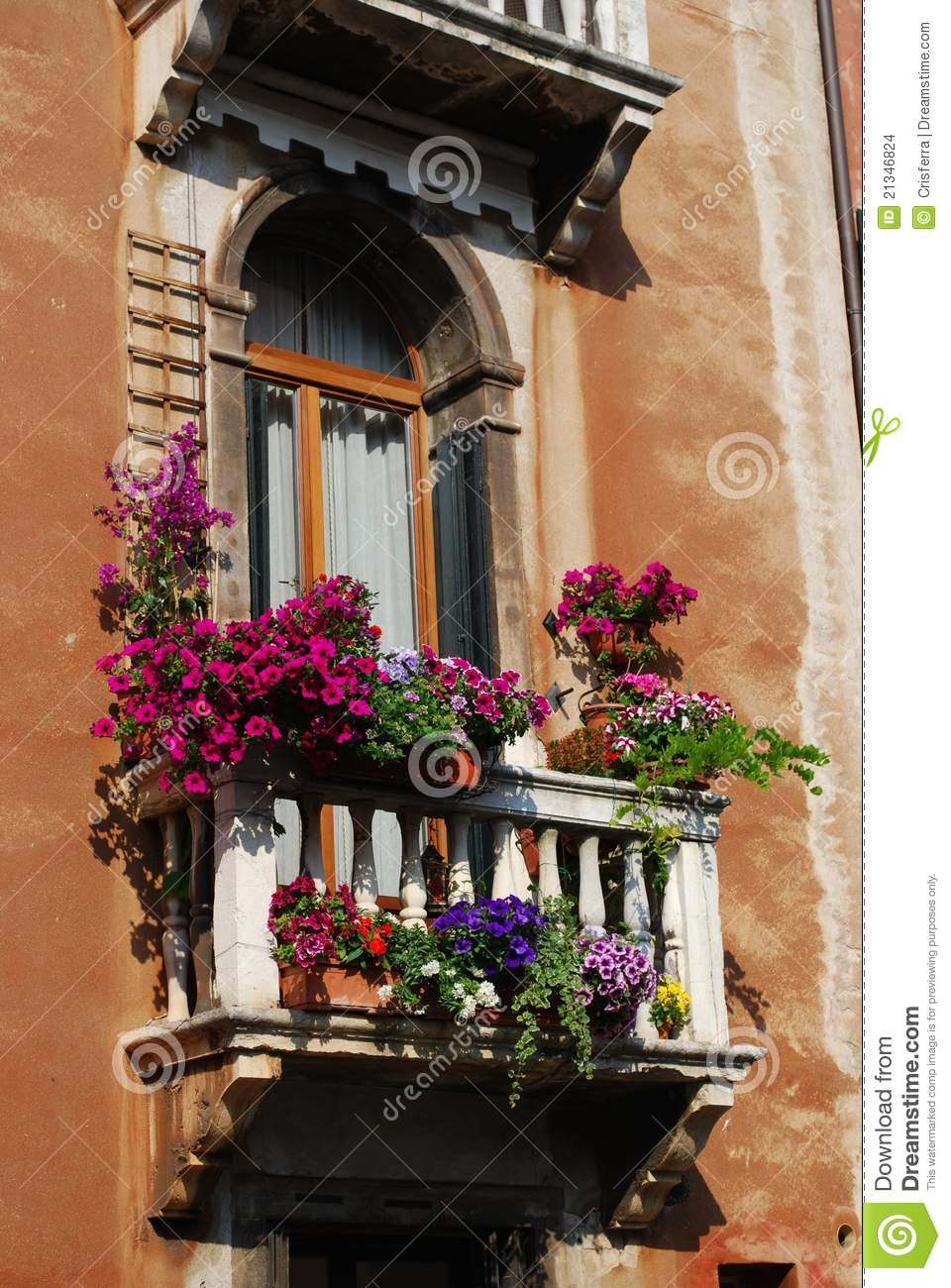 Window With Balcony And Flowers Stock Photo  Image 21346824
