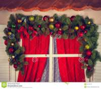 Window With Christmas Decorations Stock Image - Image ...