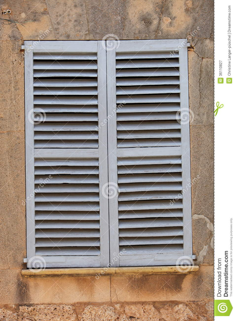 Window With Closed Wooden Shutters Stock Image  Image 36110827