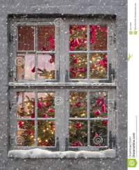 Window, Snowfall And Christmas Tree Stock Image - Image ...