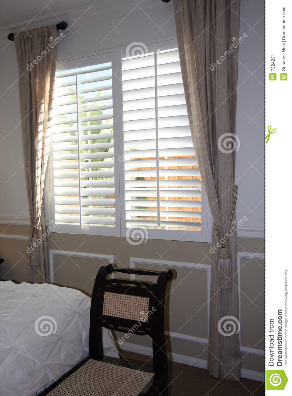 Window Treatment In Bedroom Stock Image  Image of bright