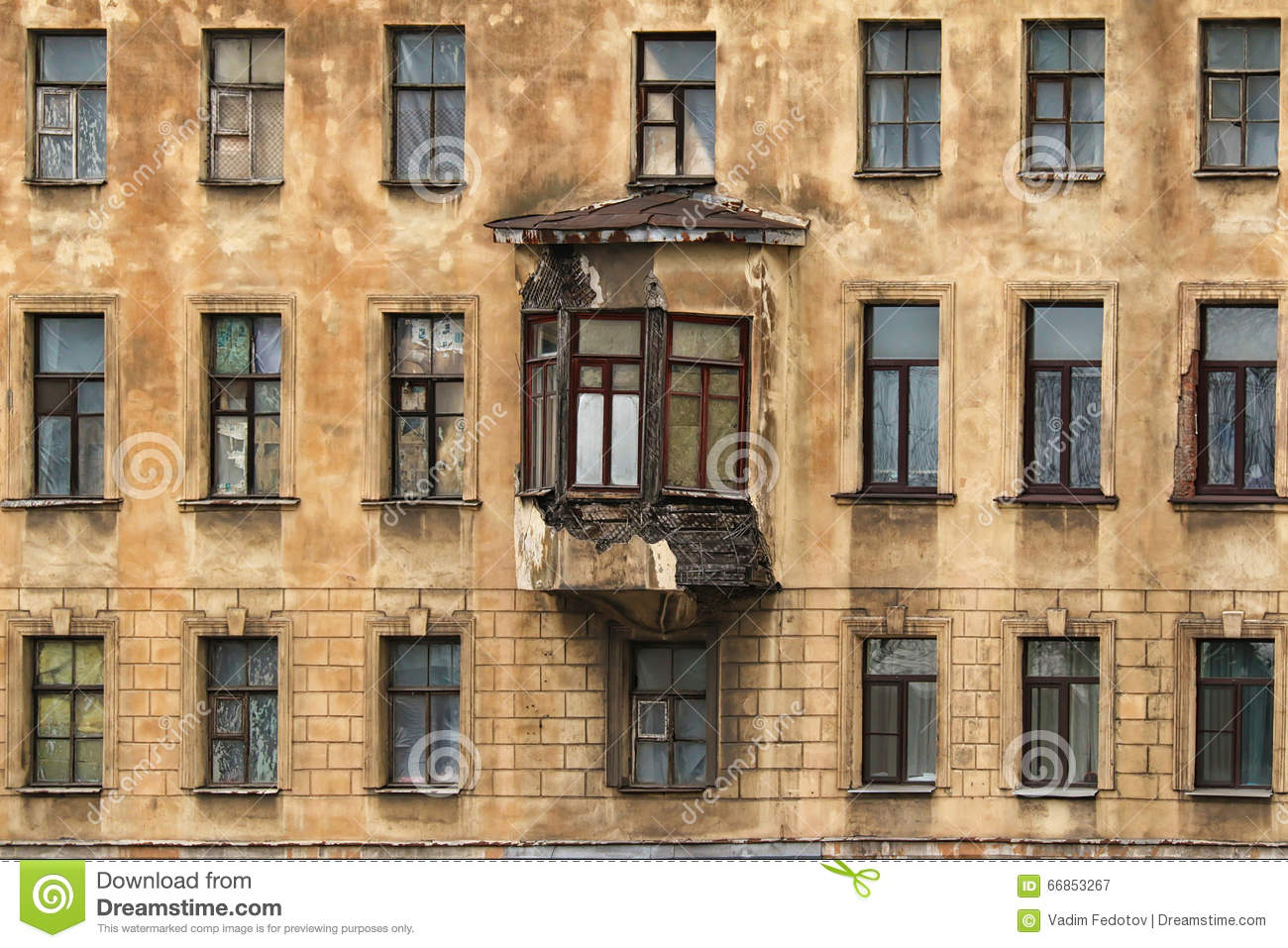 Windows In A Row And Bay Window On Facade Of Apartment