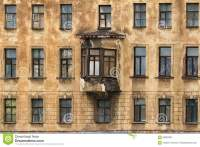 Windows In A Row And Bay Window On Facade Of Apartment ...