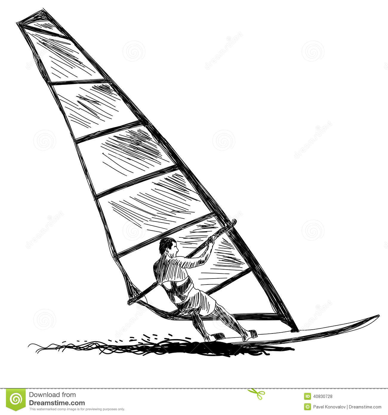 Windsurfing Sketch Stock Vector Illustration Of Nature