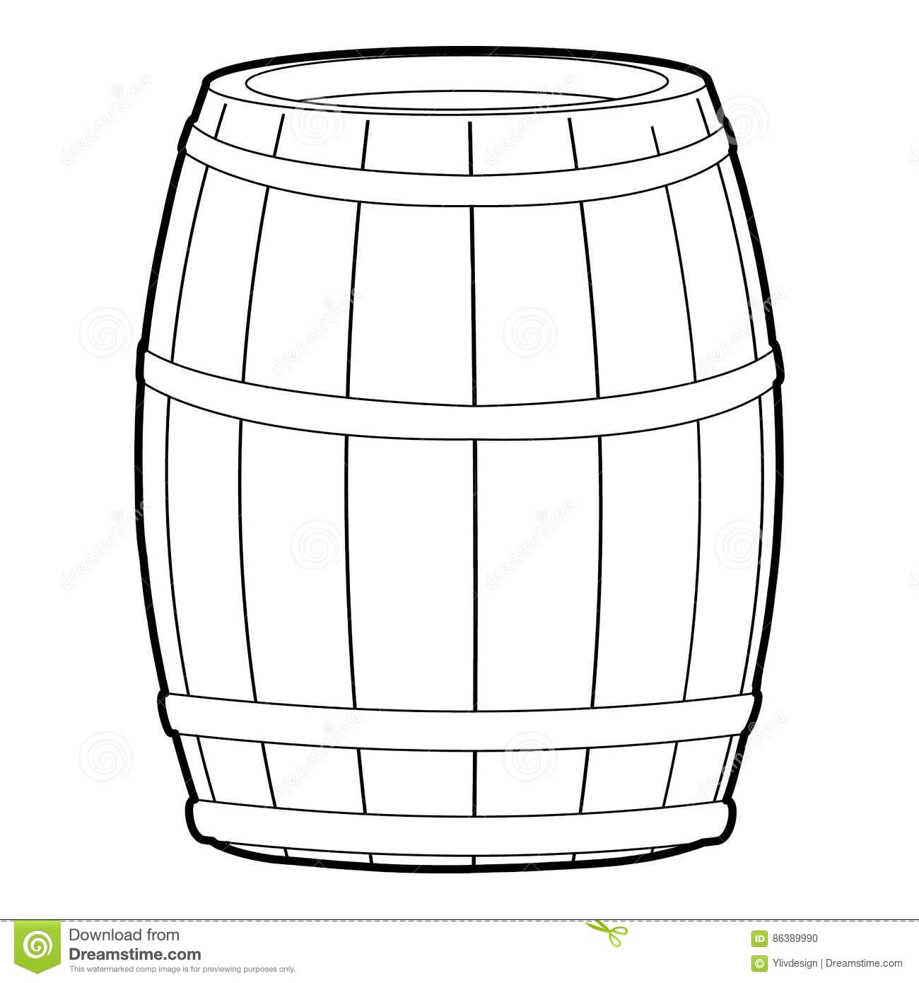 Wine Barrel Icon Outline Style Stock Vector
