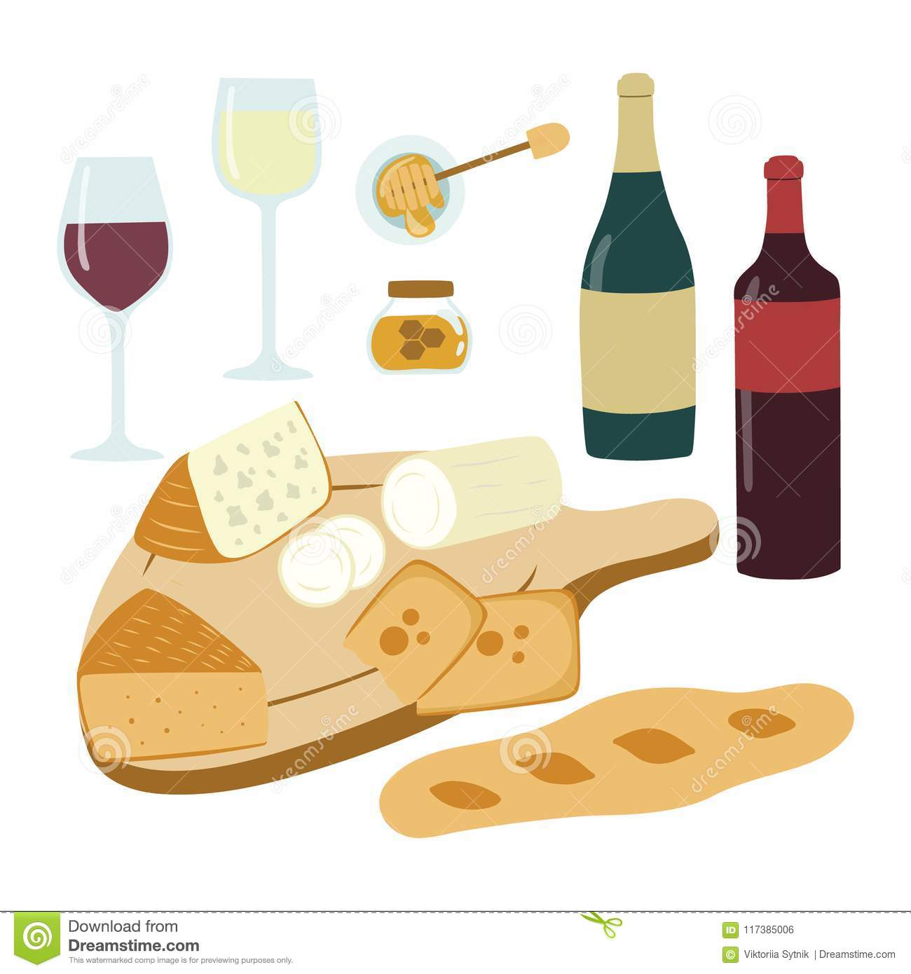 hight resolution of wine and cheese hand drawn illustration set