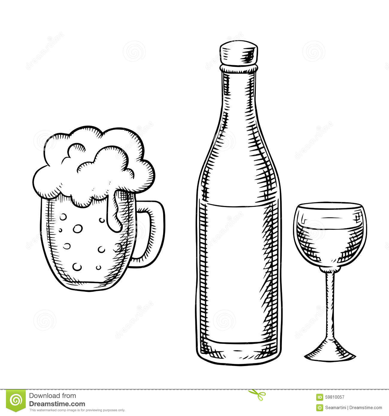 Wine Glass Bottle And Beer Tankard Stock Vector