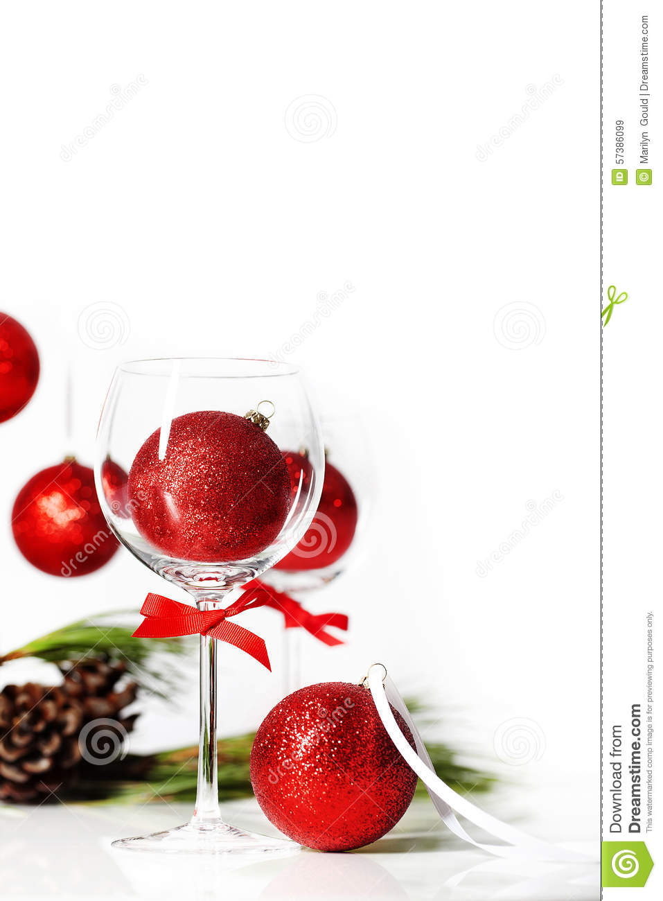 Wine Glass With Christmas Ornament Stock Photo Image